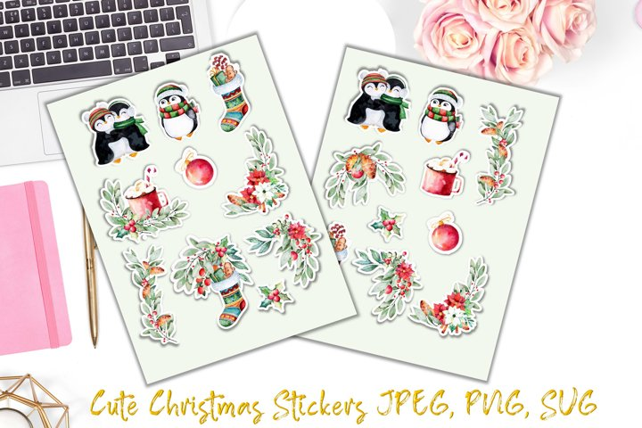 Christmas Clipart and Stickers Bundle SVG & PNG 15 stickers