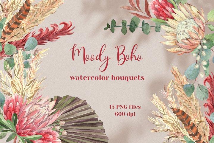 Moody Boho Watercolor Bouquets