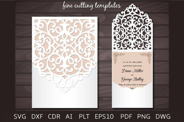 Laser cut Wedding Invitation 5x7 cutting Envelope template