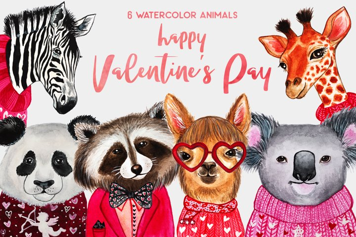 Valentines Day. Watercolor animals