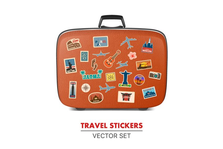 Travel stickers and suitcase.