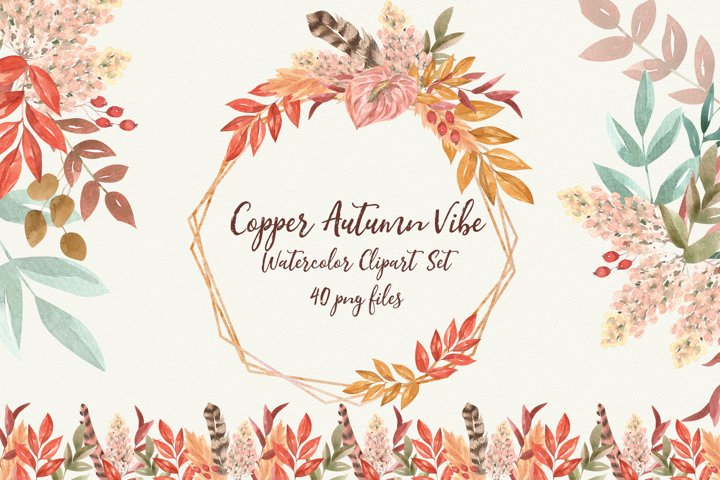 Copper Autumn Vibe. Fall Watercolor Florals, Leaves, Feather