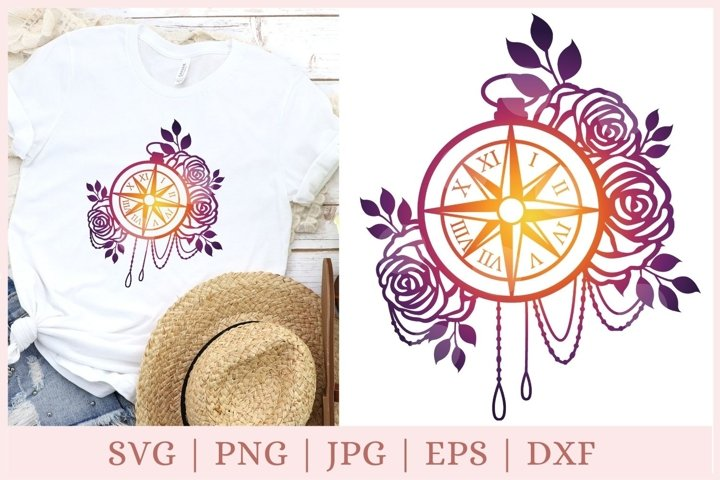 Nautical compass svg, floral compass svg, camping svg