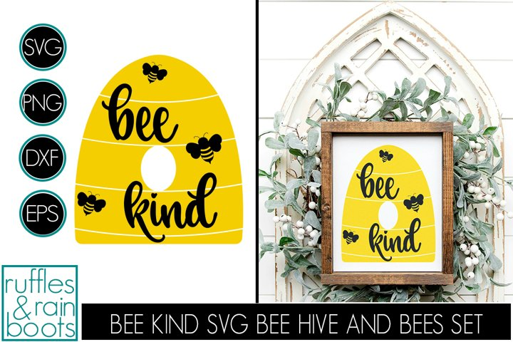 Bee Kind SVG with Beehive, Bumblebees, and Thick Script Font