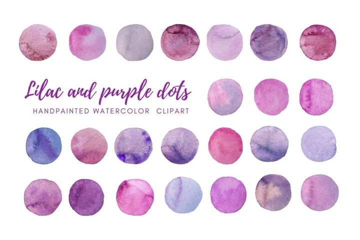 Watercolor lilac dots clipart. Hand painted Spots
