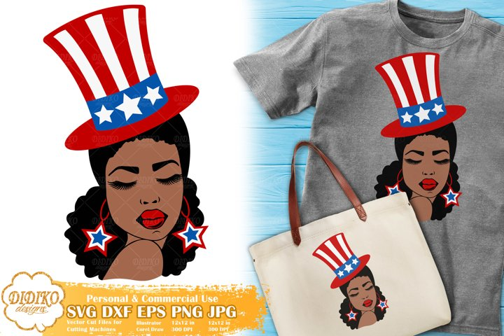 Black Woman 4th of July SVG | Afro Woman SVG | USA Flag Hat