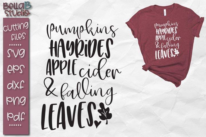 Pumpkins Hayrides Apple Cider And Falling Leaves Svg 120985 Svgs Design Bundles