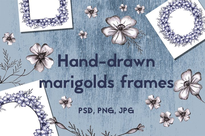 Wreaths and Frames with hand-drawn Marigolds.