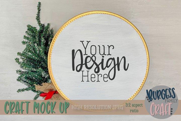 Round white wood sign Christmas | Craft mock up