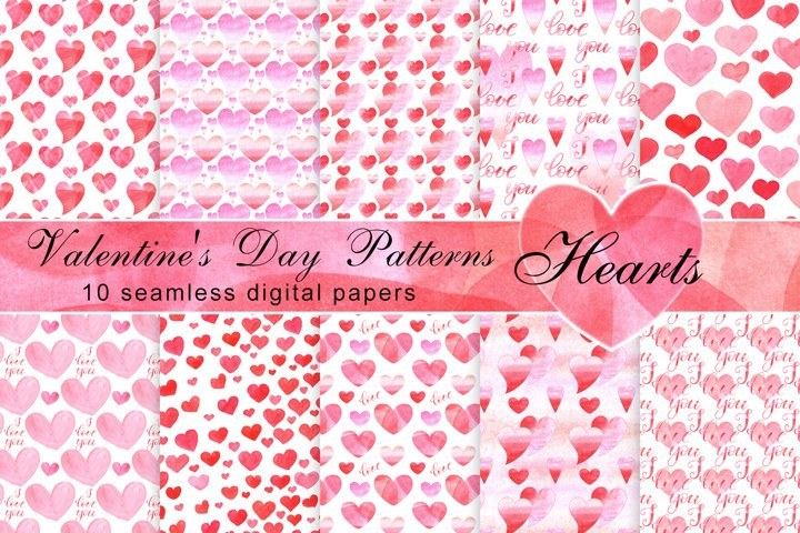 Hearts Digital Paper-St. Valentines Day Patterns-Watercolor