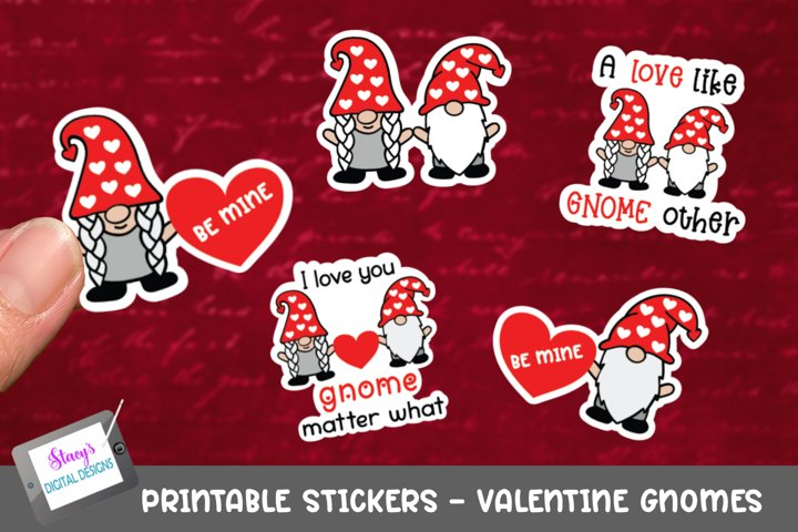 Valentines Day Stickers - 5 Valentine Gnome Stickers - PNG