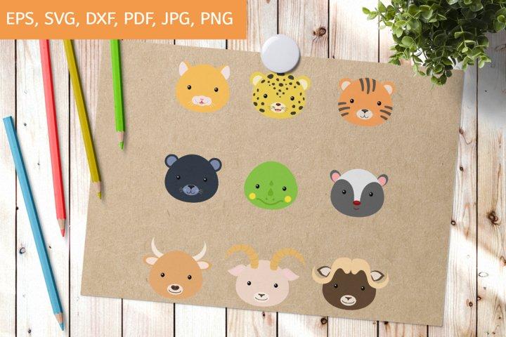 Cutting File Cute Animal Heads SVG - Clipart Cut Files