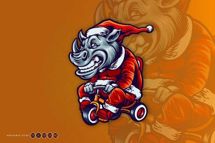 Rhino Mascot on fancy Dress santa claus riding Unicycle Svg