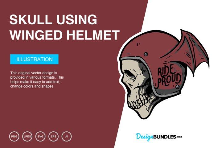 Skull Using Winged Helmet Vector Illustration