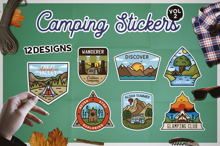 Sticker Bundle PNG! Printable Camp Sublimation Designs SVG