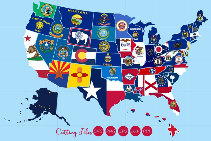 All 50 US states map with flag design