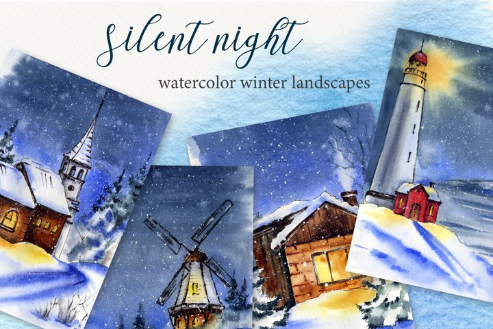 Silent night watercolor set