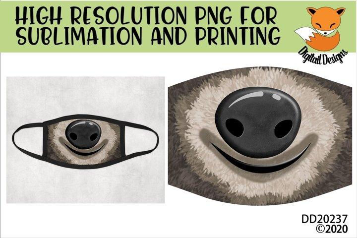 Funny Sloth Face Sublimation Design For Masks