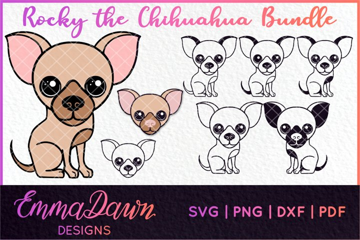 ROCKY THE CHIHUAHUA DOG SVG BUNDLE 8 DESIGNS