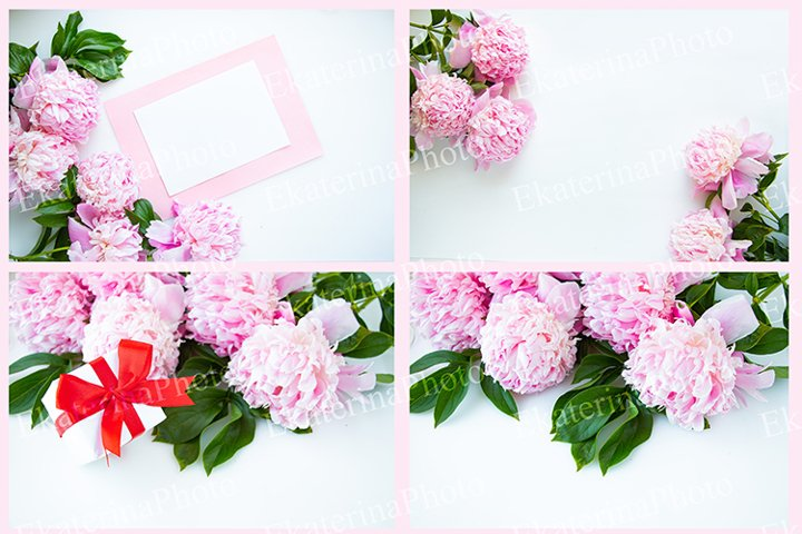 Layout with pink peonies.