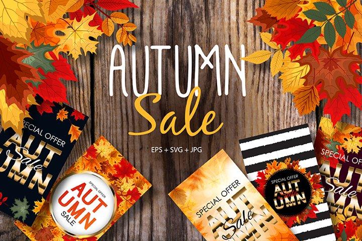 Autumn Sale Poster Background set