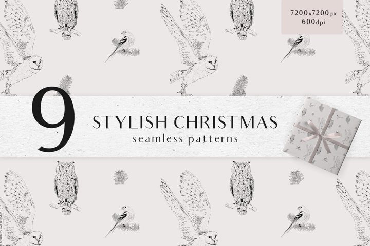 Christmas digital papers - Winter seamless patterns