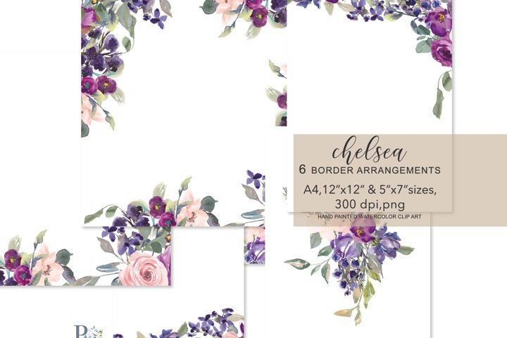 Watercolor Blush and Purple Plum Flowers Foliage Frames