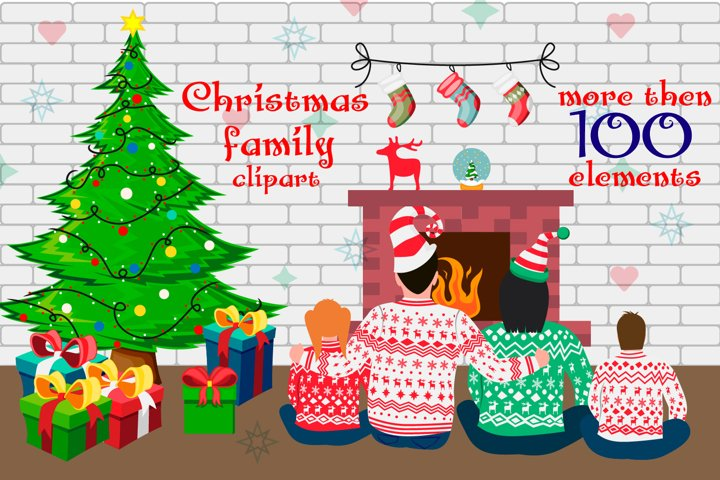 Christmas Family Flat style Clipart Parents with Kids