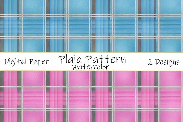 Plaid pattern watercolor. Vintage watercolor illustration