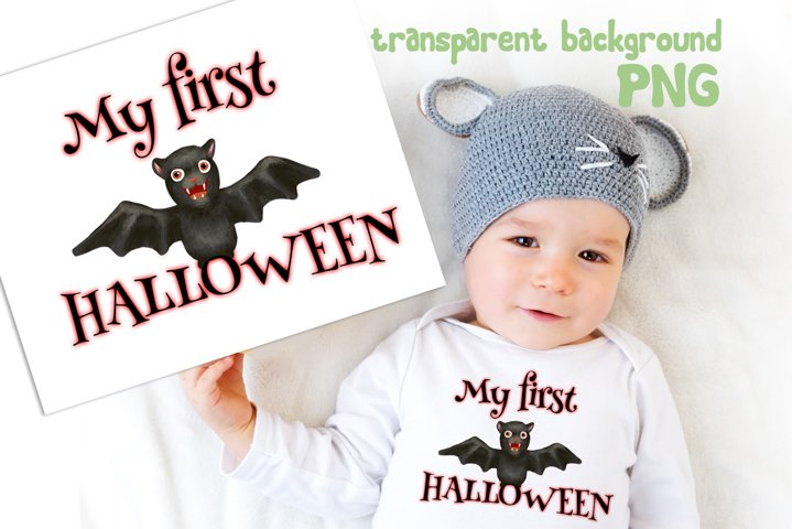 My first Halloween PNG Sublimation design for kids and baby