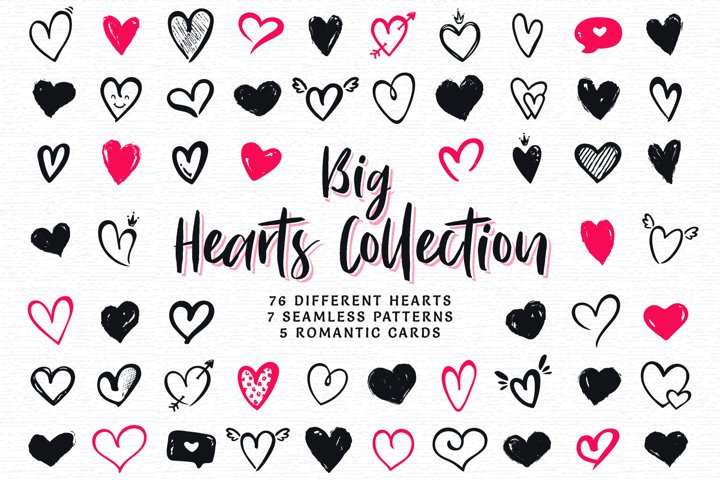 Hand drawn hearts. Big collection.