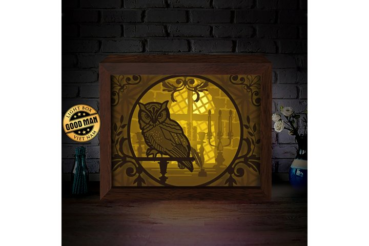 OWL 1 3D Paper Cutting Light Box - Shadow Box