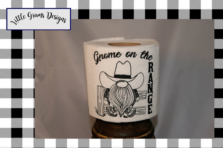 Cowboy Gnome Toilet Paper Towel Embroidery Design