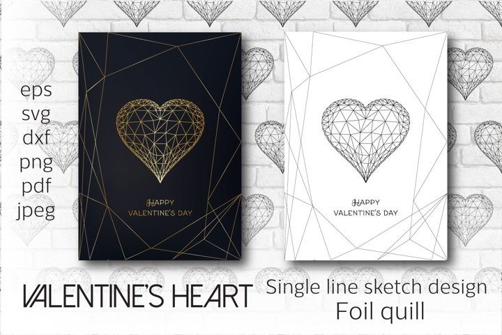 Foil quill Valentines heart. Single line sketch design.