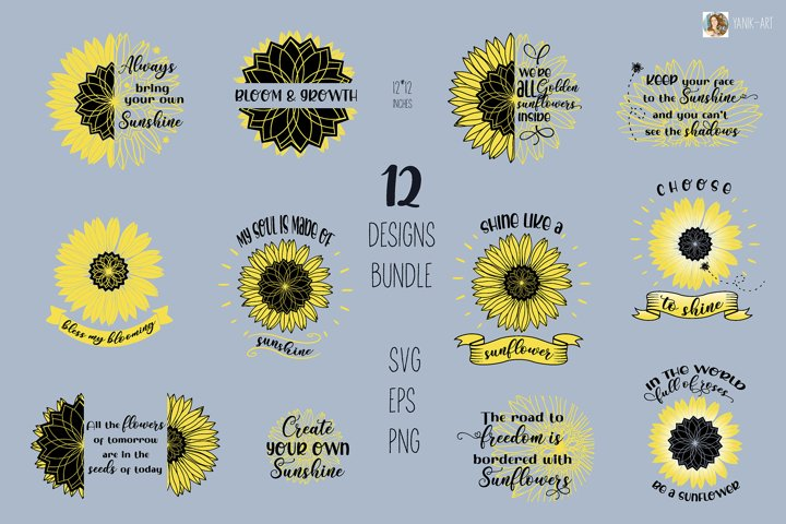 SVG Sunflower bundle Quotes sunshine