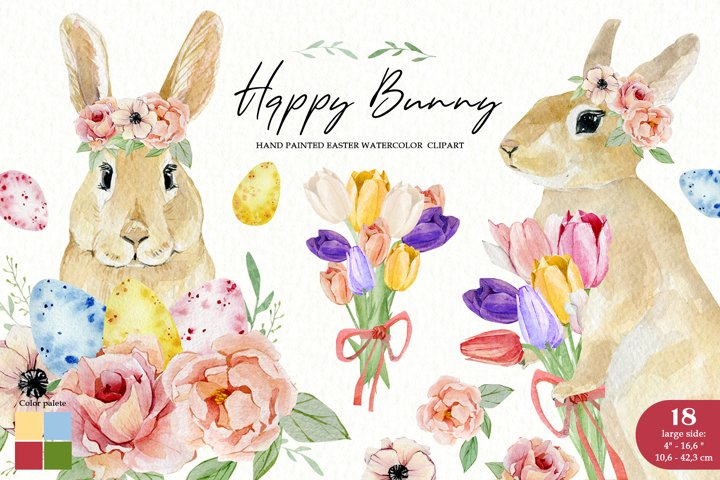 Watercolor Easter Bunny clipart. Eggs, tulips, roses