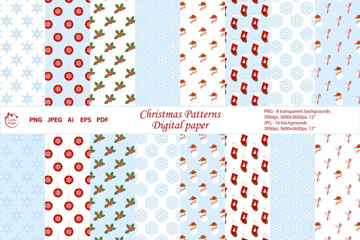 Christmas seamless patterns. Digital paper. Background