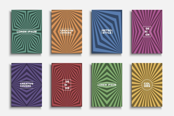 Vintage colorful striped covers