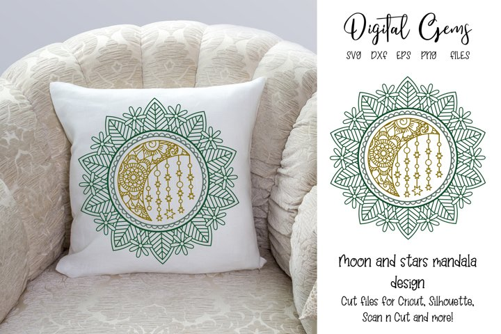 Moon and stars mandala design, SVG / PNG / EPS / DXF Files