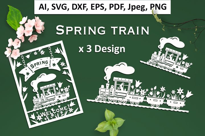 Spring train - 3 Designs of train with flowers