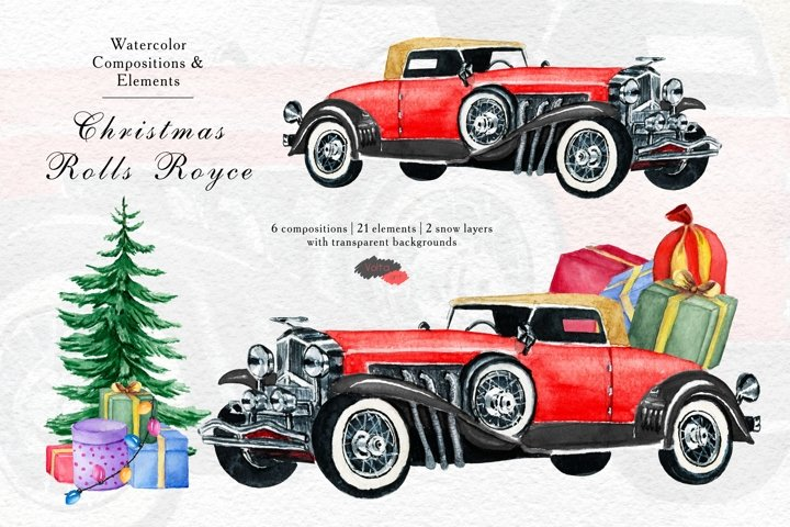 Red Yellow Rolls Royce, PNG Retro Christmas car