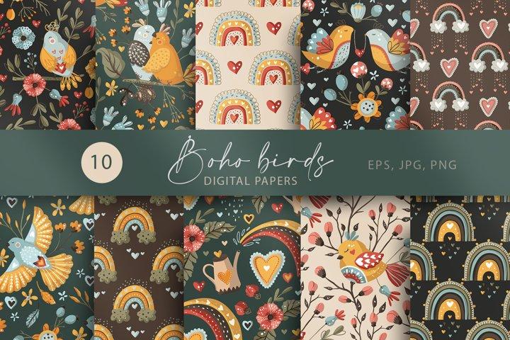 Boho Bird and Rainbow. Seamless Pattern set.