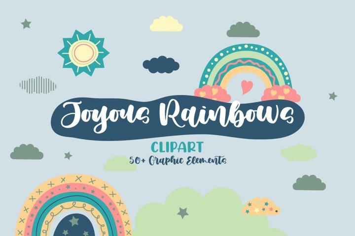 Joyous Rainbows Illustration Vector Clip Art