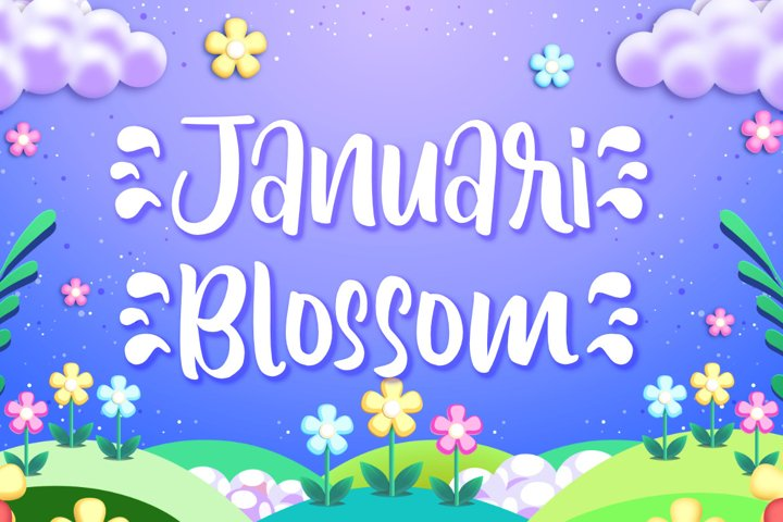 Januari Blossom | A Cute Handwritten Display Font