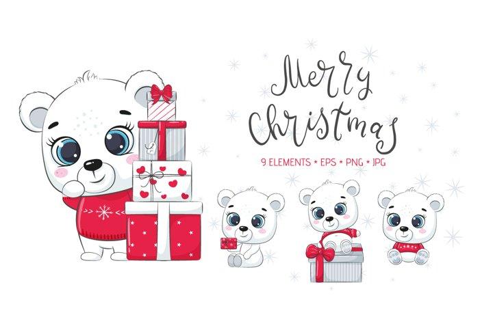 Cute Christmas Bear Clipart PNG, JPG, EPS, 300 DPI
