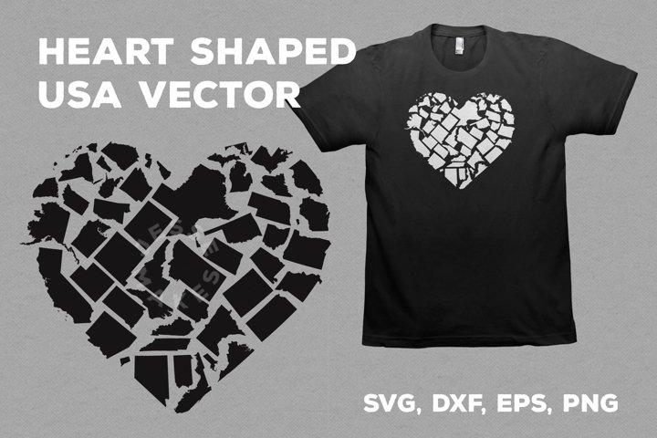 Heart Shaped USA Vector
