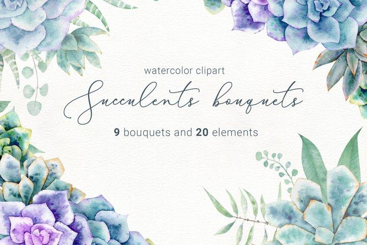 Watercolor succulent clipart, succulents png, sublimation