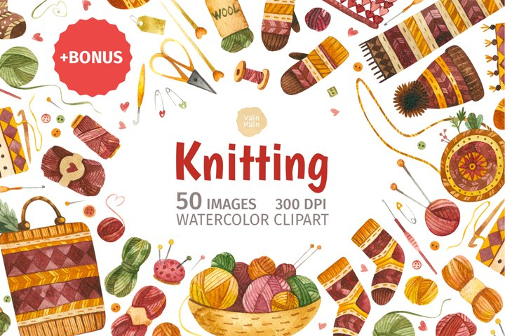 Knitting and knitwear watercolor clipart