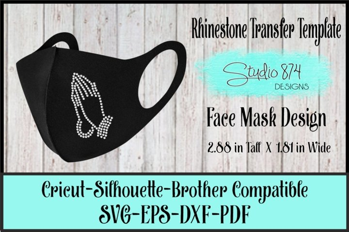 Faith Rhinestone Face Mask SVG Template - Praying Hands R2