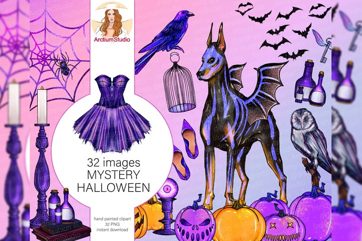 Magic fashionista clipart, Halloween witchcraft Clipart